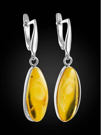 Voluminous Silver Amber Dangle Earrings The Lagoon, image , picture 3