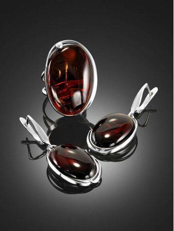 Luminous Cognac Amber Earrings The Lagoon Collection, image , picture 4