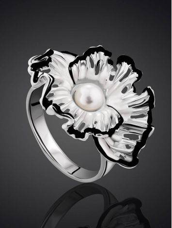 Floral Design Silver Pearl Ring With Enamel, Ring Size: 7 / 17.5, image , picture 2