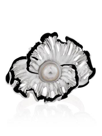 Floral Design Silver Pearl Ring With Enamel, Ring Size: 7 / 17.5, image , picture 4