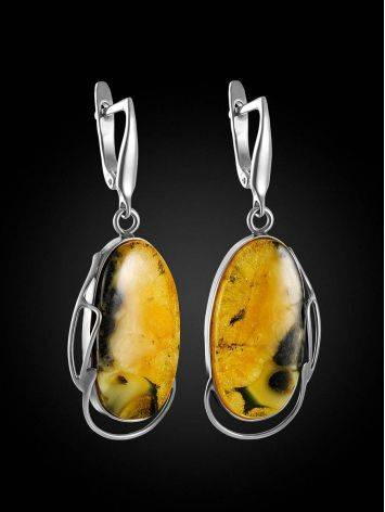 Fabulous Silver Amber Dangle Earrings The Lagoon, image , picture 3