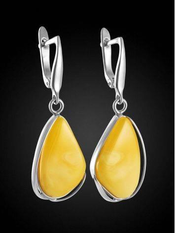 Luminous Honey Amber Dangle Earrings The Lagoon, image , picture 3