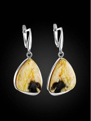 Fabulous Silver Cloudy Amber Earrings The Lagoon, image , picture 3