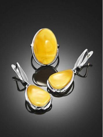 Luminous Honey Amber Dangle Earrings The Lagoon, image , picture 4