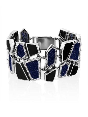 Chunky Silver Obsidian Bracelet With Denim Details, image