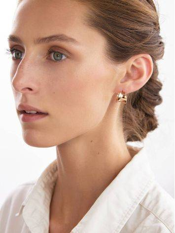 Rose Plated Sterling Silver Creole Stud Hoop Earrings The Liquid, image , picture 4