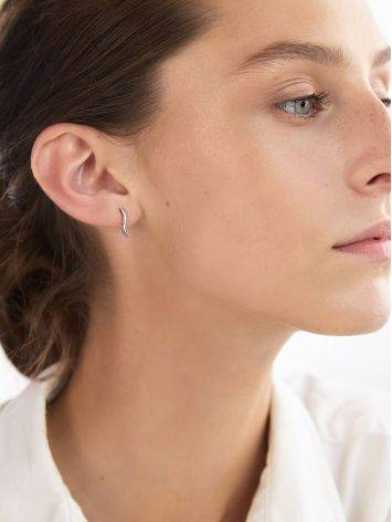 Wavy Design Silver Stud Earrings The ICONIC, image , picture 3