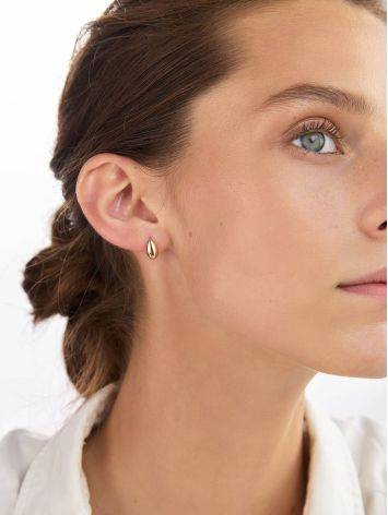 Stylish Rose Plated Silver Elongated Oval Stud Earrings The Liquid, image , picture 3