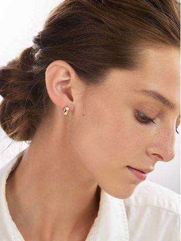 Stylishly Simplistic Rose Plated Silver Earrings The Ifamore, image , picture 3