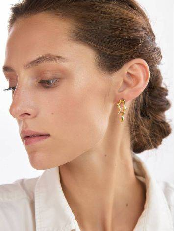 Asymmetric Design Gilded Silver Earrings, image , picture 3