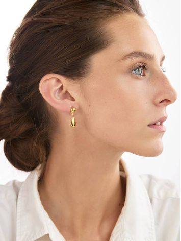 Asymmetric Design Gilded Silver Earrings, image , picture 4