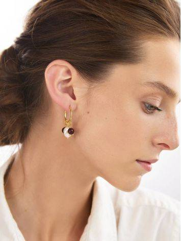 Transformable Gold Playted Silver Hoop Earrings With Natural Cherry Amber And Baroque Pearl The Palazzo, image , picture 2