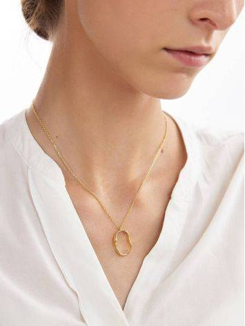 Abstract Hammered Gold Plated Silver Necklace The Liquid, image , picture 3