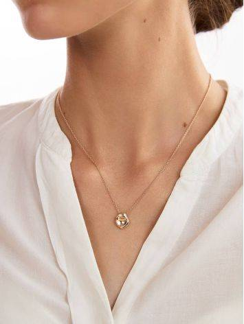 Rose Gold Plated on Sterling Silver Textured Disk Pendant Necklace The Liquid, image , picture 3