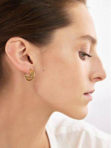 Laced Gold Plated Silver Round Earrings, image , picture 4