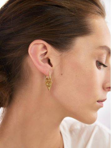 Geometric Gold Plated Silver Earrings, image , picture 4