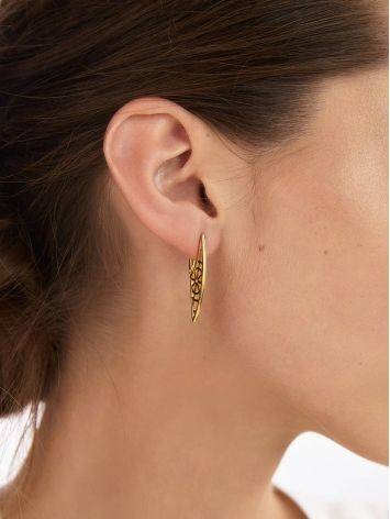 Designer Geometric Gold Plated Silver Earrings, image , picture 4