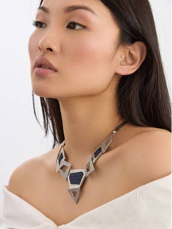 Bold Geometric Silver Necklace With Jeans Elements, image , picture 3