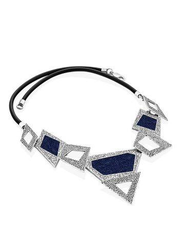 Bold Geometric Silver Necklace With Jeans Elements, image , picture 4