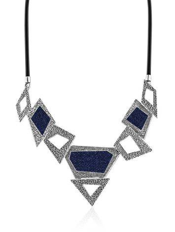 Bold Geometric Silver Necklace With Jeans Elements, image