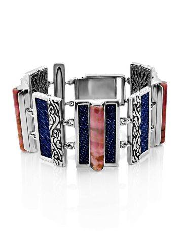 Chunky Silver Rhodonite Link Bracelet, image