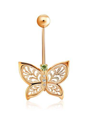 Butterfly Motif Gilded Silver Navel Ring, image