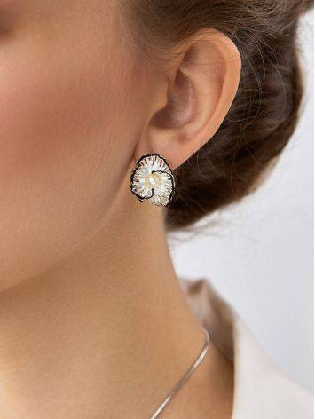 Chic Silver Earrings With Pearls And Enamel, image , picture 3