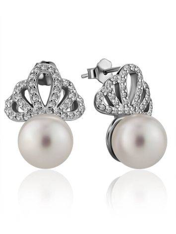 Classy Silver Pearl Stud Earrings With Crystals, image
