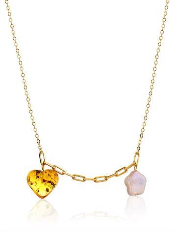 Romantic Gilded Silver Necklace With Amber And Pearl Pendants The Palazzo, image
