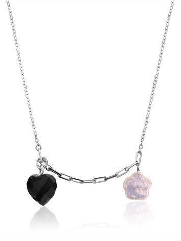 Cute Silver Necklace With Amber And Pearl Pendants The Palazzo, image