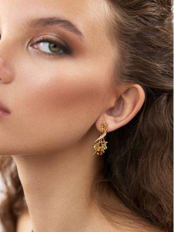 Luminous Gilded Silver Citrine Earrings, image , picture 3