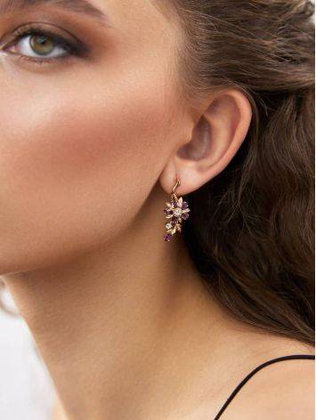 Floral Design Amethyst Topaz Earrings, image , picture 3