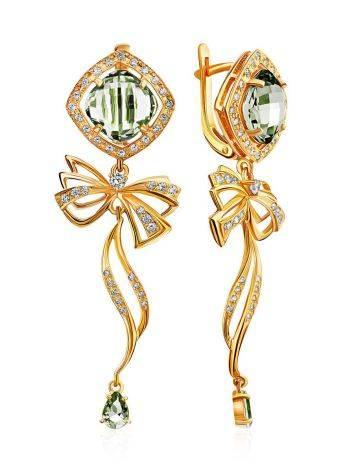 Romantic Design Gilded Silver Green Amethyst Earrings, image