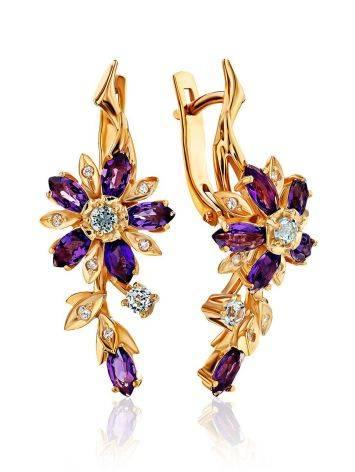Floral Design Amethyst Topaz Earrings, image