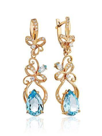 Fabulous Gilded Silver Topaz Dangle Earrings, image