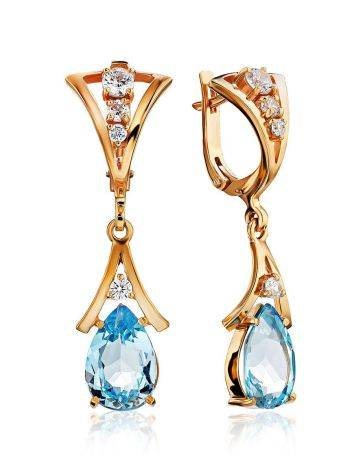 Exquisite Gilded Silver Topaz Drop Earrings, image