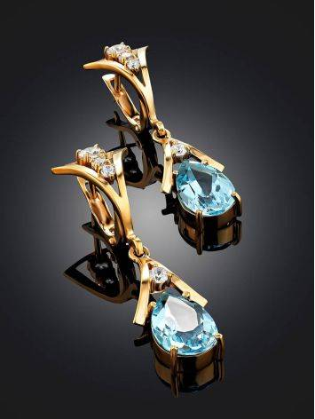 Exquisite Gilded Silver Topaz Drop Earrings, image , picture 2