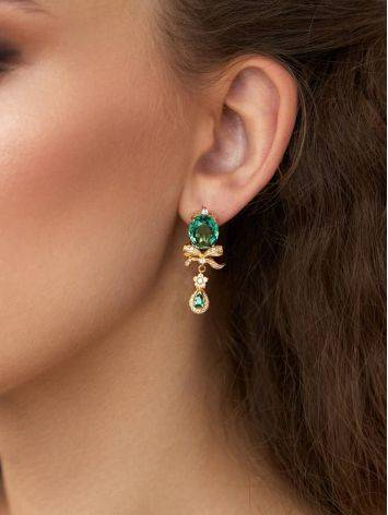 Amazing Gilded Silver Earrings With Green Quartz And Crystals, image , picture 3