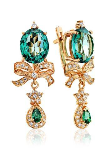 Amazing Gilded Silver Earrings With Green Quartz And Crystals, image