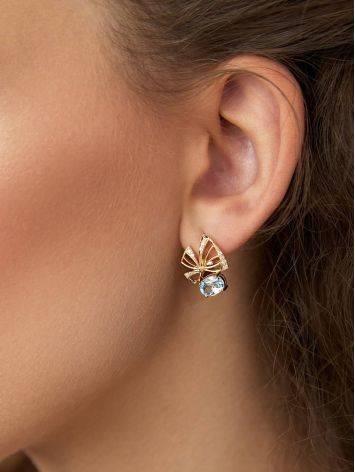 Ultra Feminine Gilded Silver Topaz Earrings, image , picture 3