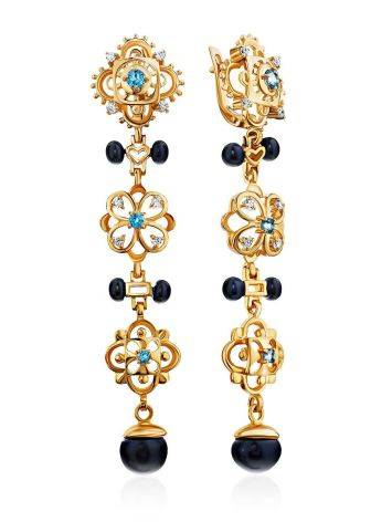 Gilded Silver Dark Pearl Dangle Earrings With Topaz And Crystals, image