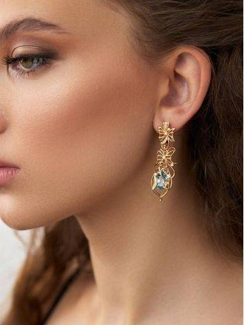 Refined Gilded Silver Topaz Earrings, image , picture 3