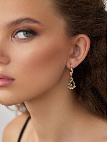 Gilded Silver Blue Quartz Drop Earrings, image , picture 3