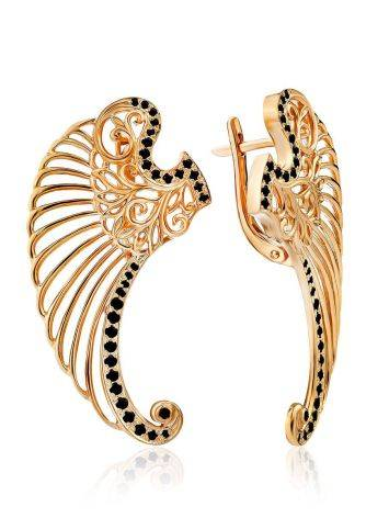 Wing Motif Gilded Silver Earrings, image