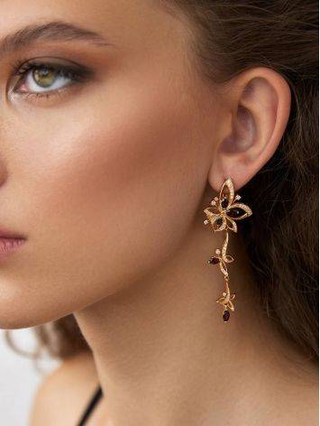 Charming Floral Design Gilded Silver Garnet Earrings, image , picture 3