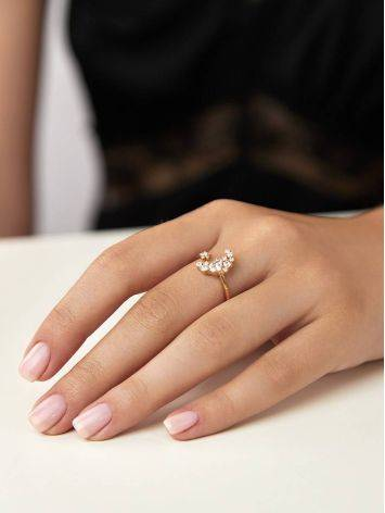 Stylish Gilded Silver Adjustable Ring With Crystal Half Moon, Ring Size: 6.5 / 17, image , picture 3