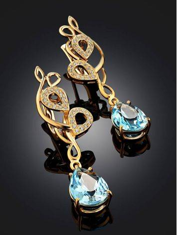 Refined Gilded Silver Topaz Drop Earrings, image , picture 2
