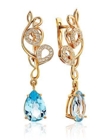 Refined Gilded Silver Topaz Drop Earrings, image