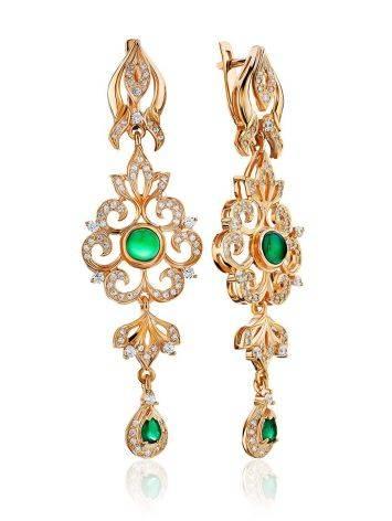 Ornate Gilded Silver Agate Dangle Earrings, image