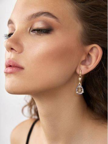 Luminous Blue Quartz Drop Earrings, image , picture 3